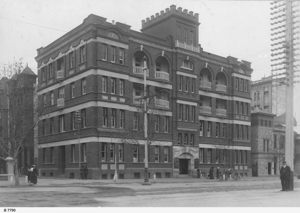 Prior to building of upper storey.  Note the balconies