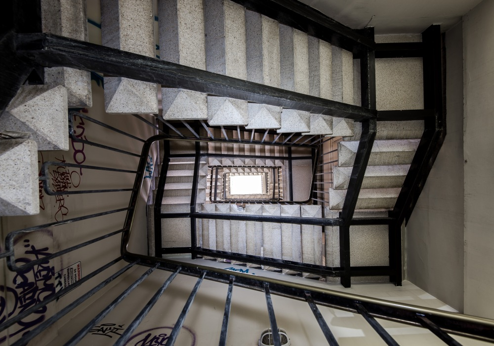 Looking up the central staircase